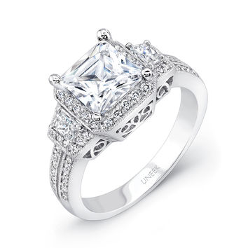 Best of the Best Collection Engagement Ring - Three Stone Princess Cut 6.5mm 60 Diamonds