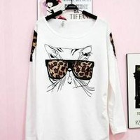 Girl Glass-Wear Kitten Ponder Leopard Grain T-shirt Blouse Tops Chic Design
