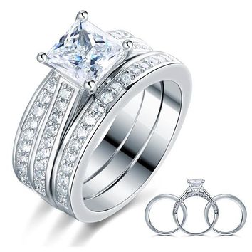 925 Sterling Silver 3 Pcs Wedding Engagement Ring Set Simulated Diamond