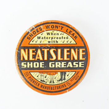 Vintage Tin Can, Rare Collectible Advertising Tin, Rare 1940s Round Tin, Neatslene Shoe Grease, Shoe Shine, Shoe memorabilia, Orange Tin Box