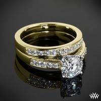 "18k Yellow Gold with White Gold Head ""Flush-Fit"" Diamond Engagement Ring and Wedding Ring"