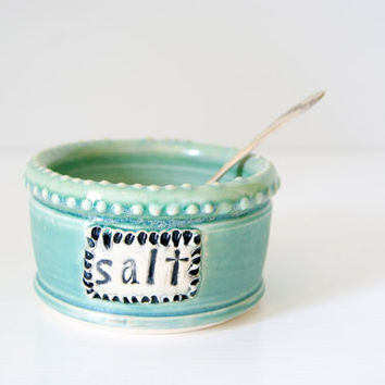 Salt Cellar, Jar, Bowl, Pig / Handmade Pottery / Blue Green / Ready to Ship