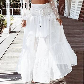 Affogatoo Causal dot transparent long skirt women High waist mesh trumpet maxi white skirt 2018 Beach summer skirt female