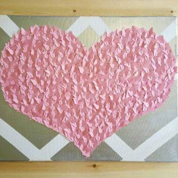 Pink Heart- 3D Butterfly Wall Art, Nursery Decor, Modern, Unique, Girl's Room, Gift Ideas, Gifts for Her, Heart, Love, Teen, Chevron (16x20)