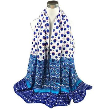 CREYU3C Autumn Winter National StyleTwill Polka Dot Long Scarf Women Printed Cotton Sarong Wrap Shawl Scarves Thick Brand Shawls