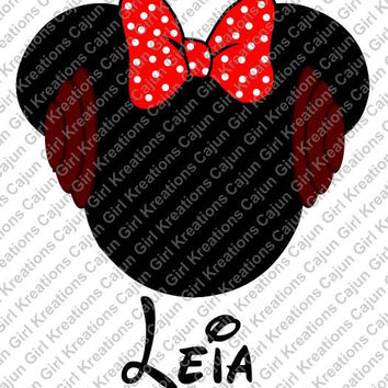 Star Wars Princess Leia w/ Name/Date Minnie Mouse Bow Head Disney Vacation Birthday Printable Iron On Transfer DIY Clipart