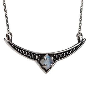 Crescent Moon Necklace Moonstone Sterling Silver Charm Boho Jewelry - FPE018