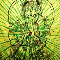 Ganesh Tapestry Tie Dye Green - Mellow Mood