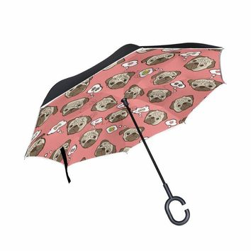 Drop Shipping Pug Dog Windproof Reverse Folding Double Layer Inverted Umbrellas Self Stand Rain Sun Protection C-Hook For Car