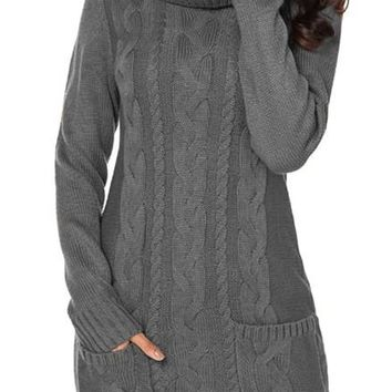 Gray Cowl Neck Pockets Cable Knit Sweater Dress