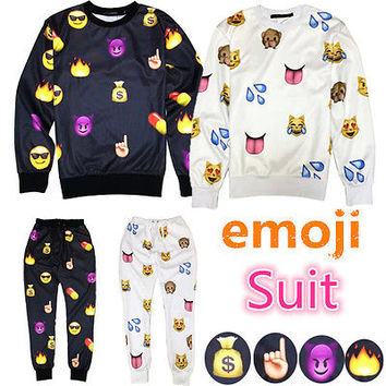 Crew emoji  Fun 3D sweat shirt outfit Men jogger Pants Women Sweater white black