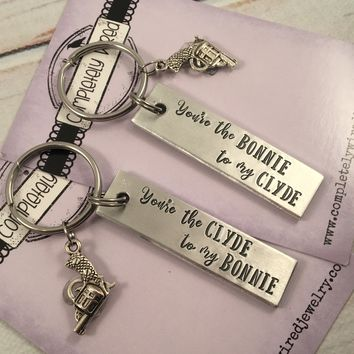 You're the Bonnie to my Clyde / You're the Clyde to my Bonnie Keychains Set