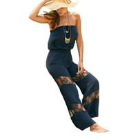 Sylyish Strapless Lace Splicing Black Jumpsuit - Womens