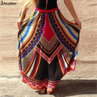 2016 New women Maxi skirt summer style sexy beach long skirt geometirc print bohemian Wrap Side Slit High Waist Pleated skirt 41