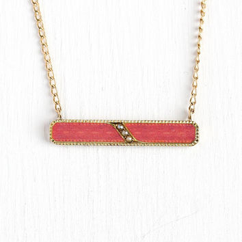 Pink Enamel Necklace - Antique 14k Rosy Yellow Gold Bar Pin Pendant - Vintage Early 1900s Edwardian Era Brooch Conversion Seed Pearl Jewelry