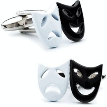 Black and White Theatre Masks Cufflinks-CLI-PSN252