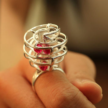 Kinetic Ring - rolling rubies with every movement of the wearer, 3D Printed in sterling silver with ruby, July Birthstone, free shipping