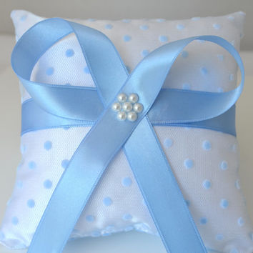 handmade wedding ring pillow white satin something blue dotted tulle pearl something blue ribbon beach wedding gift ideas