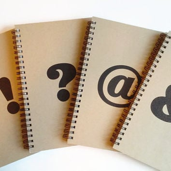 Set of 4 5x8 writing journals ampersand exclamation point question mark at symbol, cute spiral notebook, diary, stocking stuffer for writers