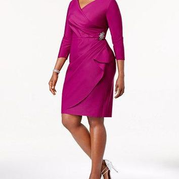 ALEX EVENINGS WOMEN'S EMBELLISHED RUCHED SHEATH DRESS, 16