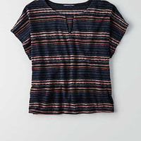 AEO Feather Light Keyhole T-Shirt, Multi