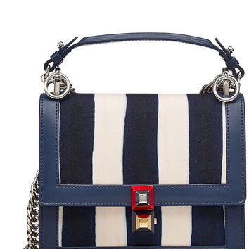 Mini Kan I Shoulder Bag with Canvas and Leather - Fendi | WOMEN | US STYLEBOP.COM
