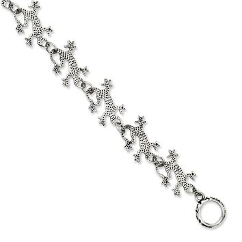 Stainless Steel Textured Lizard Toggle Bracelet - 20mm Toggle