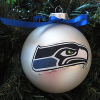 "NFL Seattle Seahawks 4"" Christmas Ornaments! Handmade"