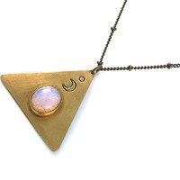 Triangle Moon Necklace, Brass Triangle, Moon Pyramid Necklace, Opal Necklace, Gift for Her, Half Moon Necklace, Stamped Jewelry, Boho
