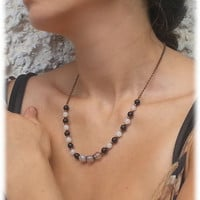 Necklace, Bracelet and Earrings with dragon vein agate, black onyx and jade - bronze chain - classic - seed bead jewelry