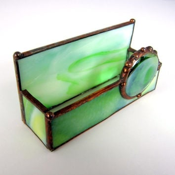 Green Goddess Handmade Stained Glass Business Card Holder