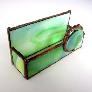 Shop stained glass business card holder on wanelo green goddess handmade stained glass business card holder colourmoves