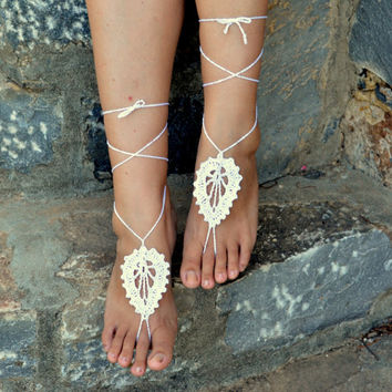 White Barefoot Sandals Leaf Design, Crochet Sandals, Sexy Foot Anklet, Toe Ring, Yoga, Foot Thongs, Nude Shoes, Lace Sandles