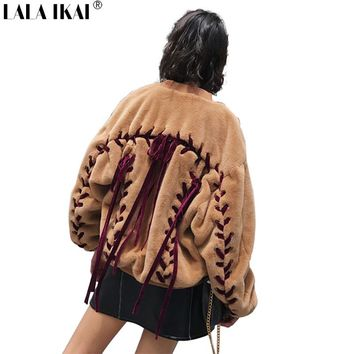 Bomber Faux Fur Jacket Women Winter Lace Up Brown Fur Coat Ladies New Stand Collar Lamb Wool Zipper Pilot Fur Outwear SWQ0354-45