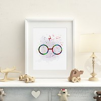 Harry Potter Glasses Watercolor Art Print
