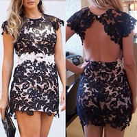 Paisley Pattern Lace Backless Mini Dress