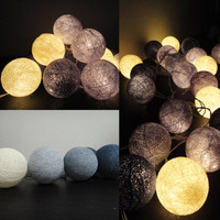 Battery Powered LED Bulbs 20 Mixed Gray Clound Tone Cotton Balls Fairy String Lights Party Patio Wedding Floor Hanging Gift Home Decor 4m.