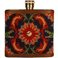 Tick Tock Needlepoint Flask in Navy by Smathers & Branson