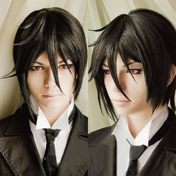 Cool Top Quality Kuroshitsuji Black Butler Sebastian Michaelis Short Black Heat Resistant Anime Cosplay Costume Wig + Track + Wig CapAT_93_12