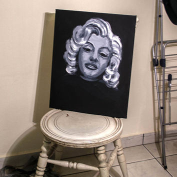 Black and White portrait of Old Marilyn Monroe Art - Acrylic 16 x 20 inches on canvas by MrNobody. Signed with certificate of guarantee.