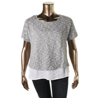 INC Womens Plus Knit 2Fer Pullover Top