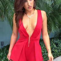Red Deep V Neck Backless Romper