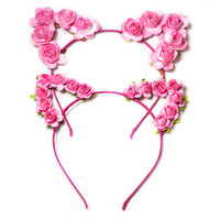Flower cat ears , festival wear, ariana grande concert attire, festival, flower child, cat ears, ultra, edc,