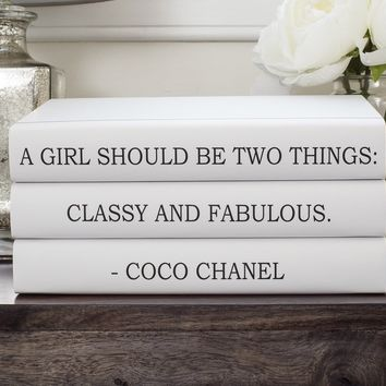 "Chanel Quote ""Classy and Fabulous"" Book Set, Fashion Designer Quote Books, Fashion Book, Fashion Design, Book Decor, Decorative Books, Book Lover, Coffee Table books, Bookworm, Home decor"