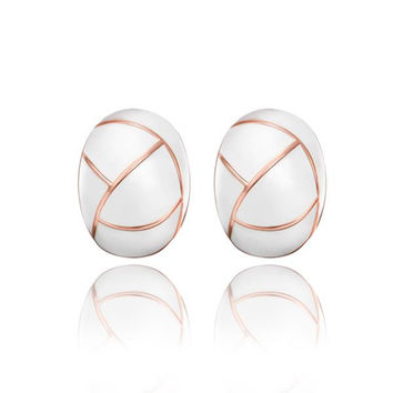18K Rose Gold Inline Acorn Shaped Ivory Stud Earrings Made with Swarovksi Elements