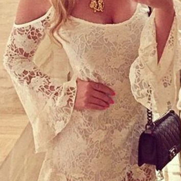 White Cold Shoulder Lace Crochet Dress