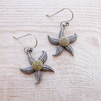 Starfish Earrings Green Sea Urchin Earrings