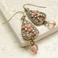 Beaded Filigree and Leather Earrings in Blushing Peach by viridian
