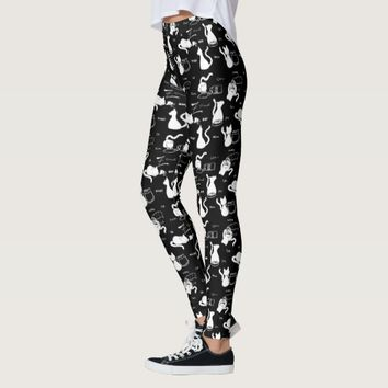 Playful White Cat Silhouettes Black Leggings