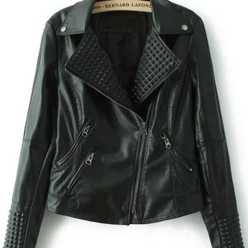 Black Zip Up Faux Leather Crop Jacket